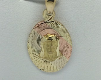 14K Yellow Gold Diamond Cut Oval Jesus Pendant