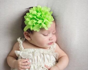 Lime flower headband - large flower headband - baby headband - infant headband - girls headband - green flower headband - baby hair band