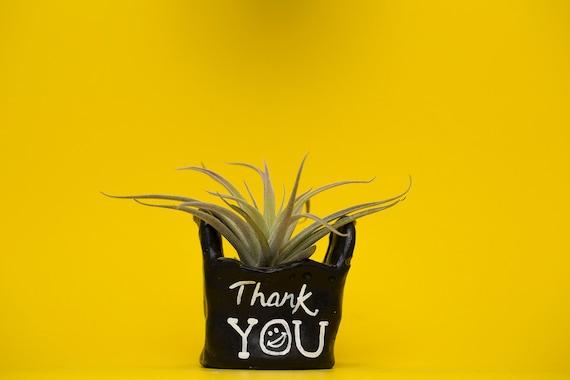 BLACK THANK YOU bag planter /thank you bag / thank you bag planter