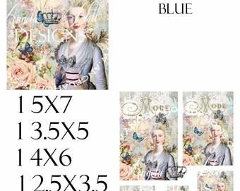 Marie in Blue 2 Sheet Digi Photo Set