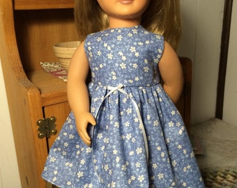 Blue Calico Dress to fit American Girl Doll or 18 inch doll
