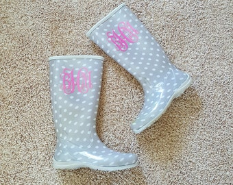 Monogrammed rain boot decals| rain boots| Glitter Decals| 4 inches| NEXT DAY SHIPPING!