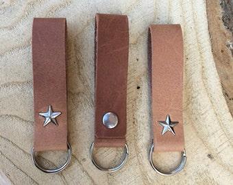 Leather Key Holder, Leather Keychain, Personalized Leather Keyring