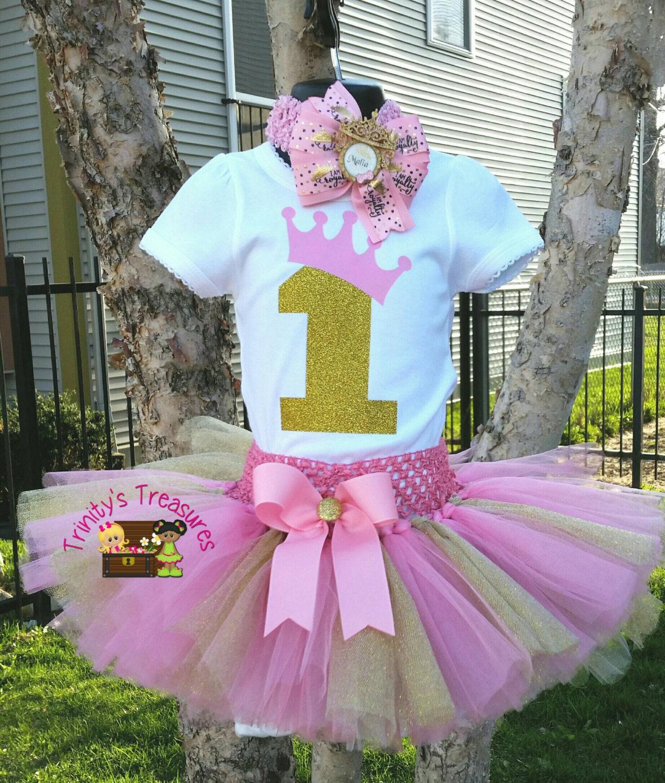 First Birthday Tutu Set 1st Birthday Tutu Pink By