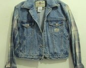 A Woman's Vintage 80's CROPPED Blue Jean Jacket With Flannel Sleeves By E.N.U.F.S