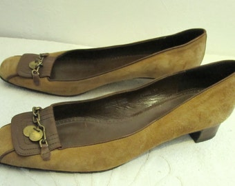 Marked Down 20%@@Women's Vintage 90's,2 Tone SUEDE & Leather RETRO Pumps By J CREW.11