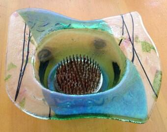 Hand Blown Glass Signed Flower Bud Vase Holder