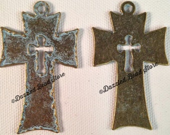 Antiqued Bronze PATINA blue double CROSS PENDANT 60mm