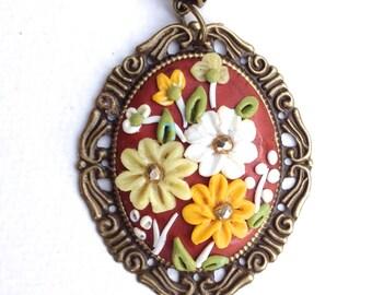 Flower polymer clay, pendant
