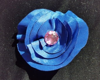 Cobalt Blue Flower Hair Clip