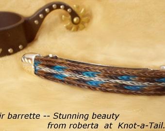 Horsehair barrette / western barrette / Cowgirl barrette /Sterling tips horse hair barrette, horse hair barrette Wider style