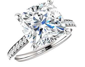 Cushion SUPERNOVA MOISSANITE & Diamond Engagement Ring 14k White Gold, 18k or Platinum - 10mm 5 Carat Cushion Supernova Moissanite Rings