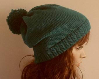 Knitted Pompom Hat, Knit Pom Pom Beanie, Womens Ski Hats, Pompom Hats, Handmade Pom Pom Hat, CHOOSE COLOUR