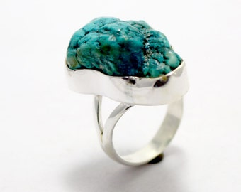 Natural Turquoise 925 Sterling Silver Solid Silver Rough Nugged Hand Made precious Jewelry Ring Made By  Amore India R521
