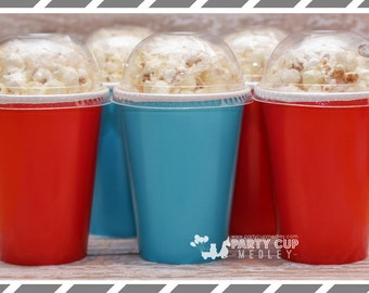 Set of 10 or 12 Red  Birthday Party Cups, Lids & Straws