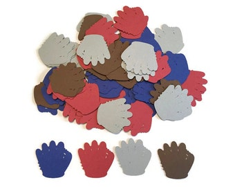 100 Assorted Baseball Glove Confetti, Die Cut, Baseball Baby Shower, Baseball theme Party, All Star Décor, Baseball Birthday Party