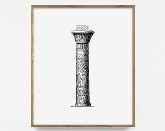 Greek, Pillar, Printable, Illustration, Print, Poster, Ancient, Architecture, Wall, Decor, Collage, Poster, Fine, Art, Retro, Drawing