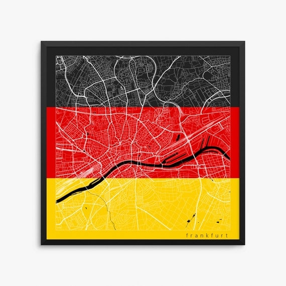 frankfurt city street map frankfurt germany flag modern art. Black Bedroom Furniture Sets. Home Design Ideas