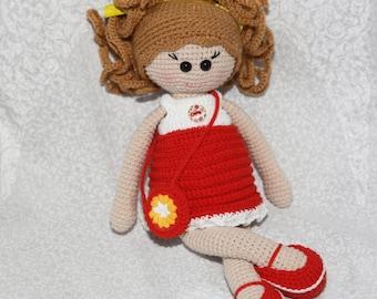 Doll handmade Gift for girl Cute doll Stuffed doll Crochet doll First doll Doll red dress Soft toy Cuddly doll Rag doll Girl doll Art doll