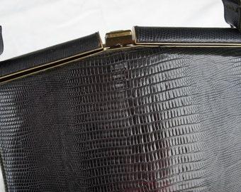Vintage Madwed Purse, Genuine Alligator/Lizard Handbag, Brass Hardware