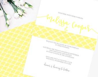Yellow Scallop Patterned 'McKenzie' Wedding Invitation & RSVP (sample), Script, Yellow, Grey, save the date