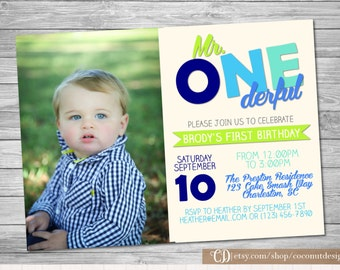 Mr. ONEderful Invitation / First Birthday / Onederful Invite / Digital File / Boy First Birthday Invitation / Photo Invitation