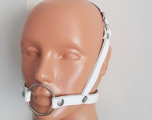 1.5 Inch  O-Ring Gag, Face Harness Studded Face Mask Accessory| submissive collar | O Ring Gag (mature)