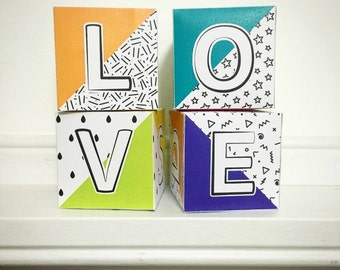 Valentine's Day decor, DIY Valentine decor, Printable Letter Blocks for valentine party decor, Printable photo booth props for Valentines.