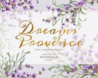 Lavender Watercolour Bouquets Clipart. DIY Wedding Invitation, Hand painted watercolour floral, DIY elements, Romantic Violet flowers