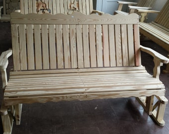 4 Foot Unfinished Pressure Treated Pine Designs Vertical Slat Porch Glider - Amish Made in the USA