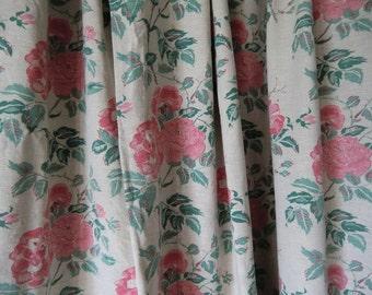 Vintage Rosen linen fabric fabric curtain curtain country house cottage farmhouse shabby