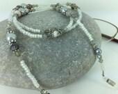 Glasses Chain Swarovski Crystal & Pink/Grey Zebra Jasper Spectacles Holder Semi Precious Lanyard