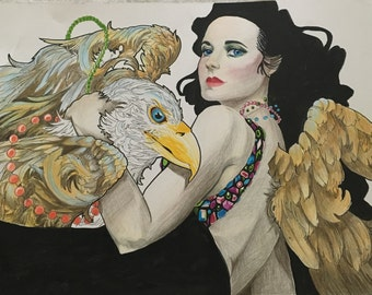 Art Nouveau Woman With Bald Eagle in Colored Pencil Ink Watercolor Marker