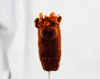 Highland Calf Knit Wool Finger Puppet