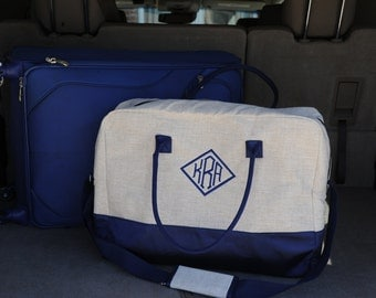 Linen overnight bag ~ Weekender bag ~ monogrammed tote