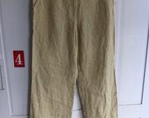 Vintage DKNY sand linen trousers size 6 UK 12