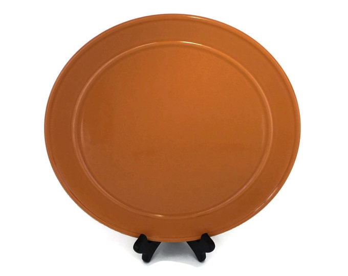 Large Round Stoneware Serving Platter Bob Van Allen for Mikasa, Serving Plate, Stoneware Chop Plate Burnt Orange, Stoneware Dinnerware