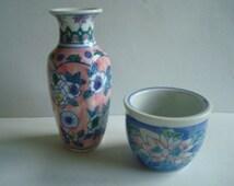 Chinese floral mini vase & flower pot
