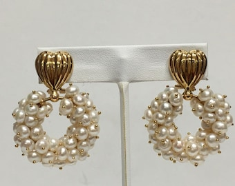 Pair of 18k Yellow Gold Pearl Cluster Earrings