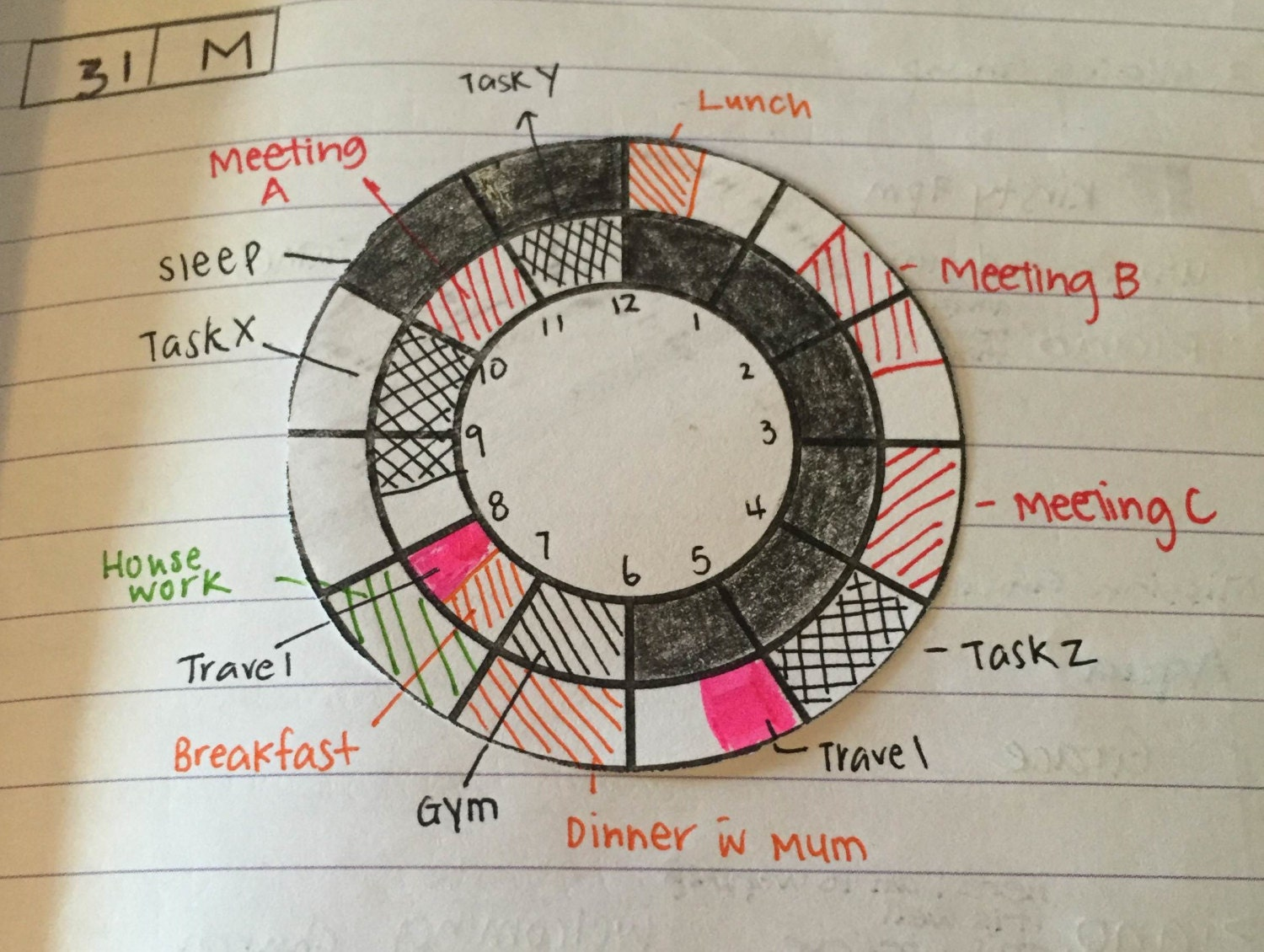 Calendar Wheel Bullet Journal : Bullet journal printable work day hour wheel dial