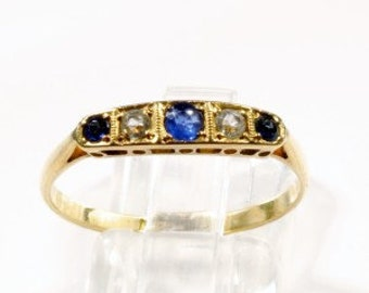 18ct Gold Diamond and Sapphire Vintage Ring