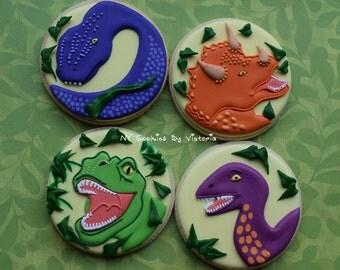 24 Dinosaur Cookies - 2 Dozen for a Dinosaur Theme Party or School Party