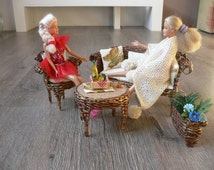Barbie Doll Wicker Patio Furniture Handmade Set Brown & Gold Fashion Royalty 1:6. Hand knitted blanket.