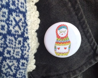 Matryoshka / Russian Nesting Doll button pin