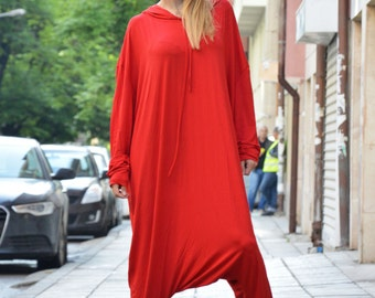 Women Harem Jumpsuit, Extravagant Loose Jumpsuit With Hooded, Plus Size Overall, Red Romper By SSDfashion