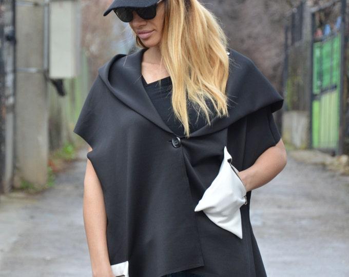 Black Hoodie Maxi Jacket, Asymmetric Short Sleeves, Extravagant Neoprene Sweatshirt by SSDfashion