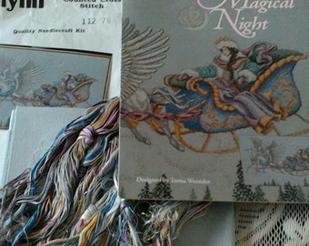 """Teresa wentzler """"magical nights"""" full kit, chart,pewter linen,threads,vintage,Very rare!*****"""