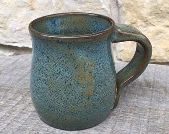 Pottery mug, Rutile Blue on Dark Clay Wheel Thrown Stoneware