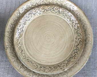 Pottery Plates embossed with dancing Dragonflies 2pc set