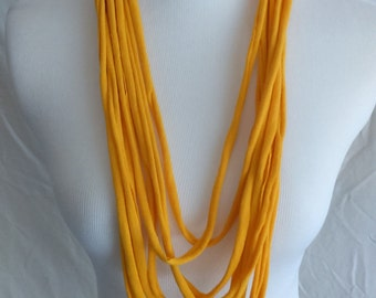 Yellow Upcycled Tshirt Knit Accessory Necklace Infinity